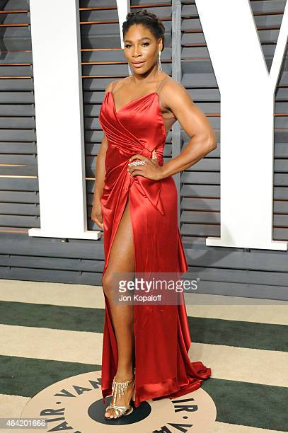 Professional tennis player Serena Williams attends the 2015 Vanity Fair Oscar Party hosted by Graydon Carter at Wallis Annenberg Center for the...