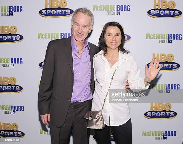 Professional Tennis Player/film subject John McEnroe and wife musician Patty Smyth attend the HBO Sports screening of 'McEnroe/Borg Fire Ice' at...