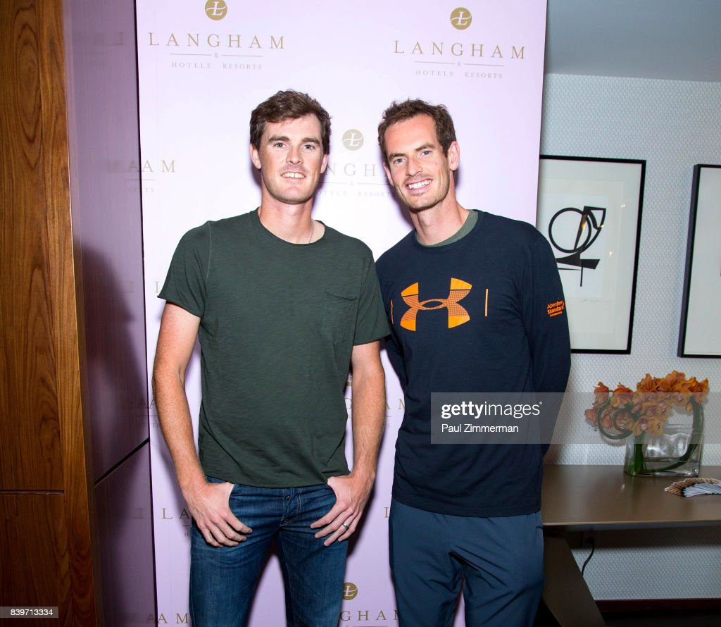 Professional tennis players Jamie Murray and Andy Murray attend US Open Weekend: to Introduce The New Roche Bobois Presidential Suite At Langham Place, New York on August 26, 2017 in New York City.