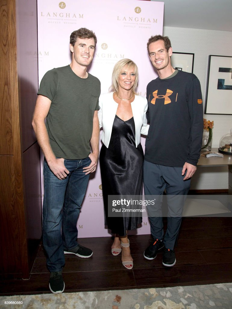 Professional tennis players Jamie Murray, Executive Fashion and Beauty Editor Harper's Bazaar, Avril Graham and Andy Murray attend US Open Weekend: to Introduce The New Roche Bobois Presidential Suite At Langham Place, New York on August 26, 2017 in New York City.
