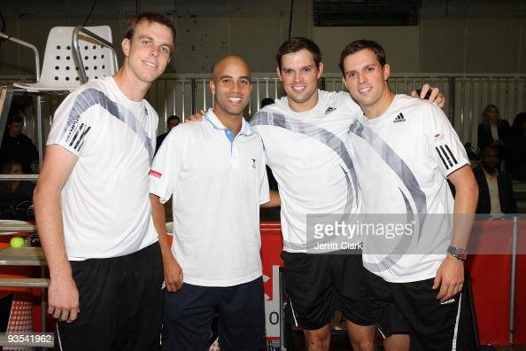 Professional tennis players Sam Querrey James Blake Bob Bryan and Mike Bryan attend the Back Office Associates Serving For A Cure benefit at Pier 94...