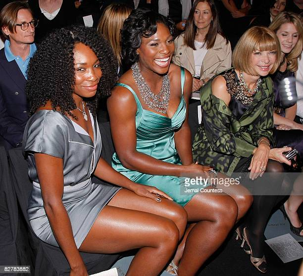 Professional Tennis Players Venus Williams and Serena Williams with Vogue Editor and Chief Anna Wintour at the Zac Posen Spring 2009 runway show at...
