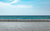 empty platform with beautiful seascape and sky on background.