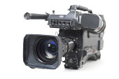 professional video camera for TV productions isolated with shadow on a white background, selected focus, narrow depth of field