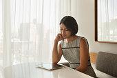 Professional Woman reading digital tablet