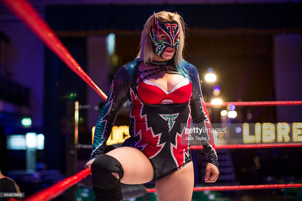 Professional wrestler Chika Tormenta poses during a photo call at York Hall in Bethnal Green on July 1, 2016 in London, England. A number of luchadores will perform in 'The Greatest Spectacle of Lucha Libre', which takes place over two days and features Mexican and British stars from the world of Mexican Wrestling.