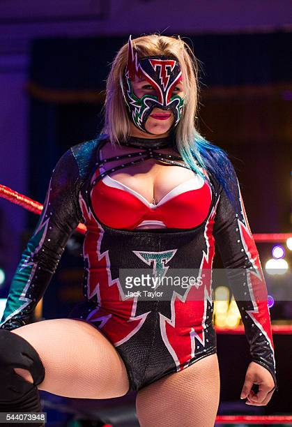 Professional wrestler Chika Tormenta poses during a photo call at York Hall in Bethnal Green on July 1 2016 in London England A number of luchadores...