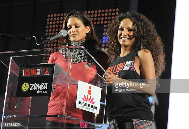Professional wrestler Eve Torres and Zumba celebrity instructor Gina Grant attend One Billion RisingRise with VDay and Zumba Fitness One Billion...