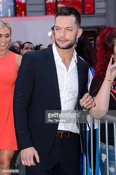 Professional wrestler Finn Balor leaves the 'Good Morning America' taping at the ABC Times Square Studios on August 22 2016 in New York City