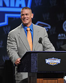 Professional wrestler John Cena attends the WrestleMania XXVII press conference at Hard Rock Cafe New York on March 30 2011 in New York City