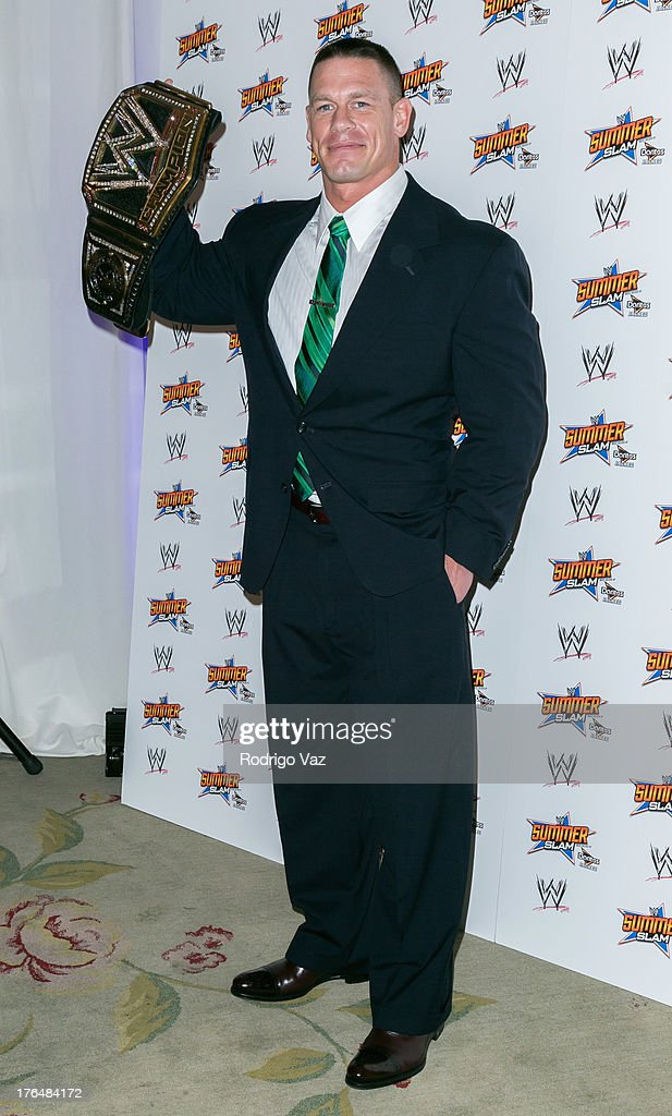 Professional wrestler <a gi-track='captionPersonalityLinkClicked' href=/galleries/search?phrase=John+Cena&family=editorial&specificpeople=644116 ng-click='$event.stopPropagation()'>John Cena</a> attends the WWE SummerSlam Press Conference at Beverly Hills Hotel on August 13, 2013 in Beverly Hills, California.