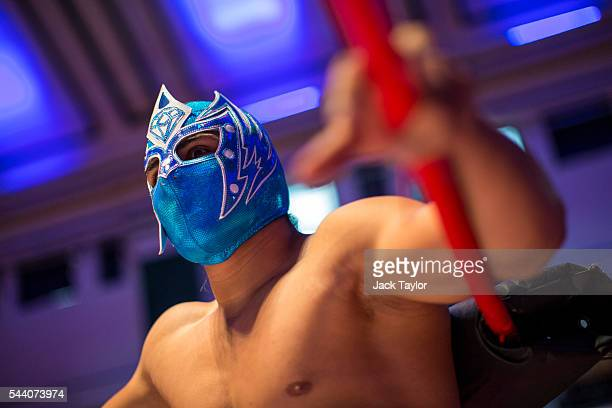 Professional wrestler Magnifico pictured during a photo call at York Hall in Bethnal Green on July 1 2016 in London England A number of luchadores...