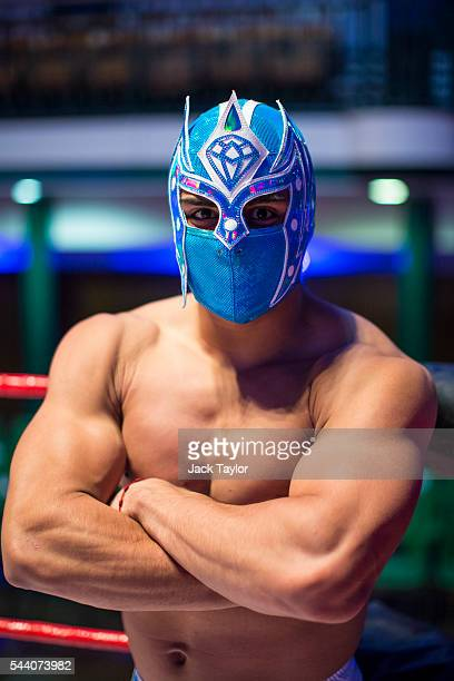 Professional wrestler Magnifico poses during a photo call at York Hall in Bethnal Green on July 1 2016 in London England A number of luchadores will...