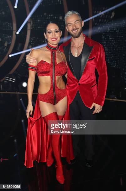 Professional wrestler Nikki Bella and dancer Artem Chigvintsev attend 'Dancing with the Stars' season 25 at CBS Televison City on September 18 2017...