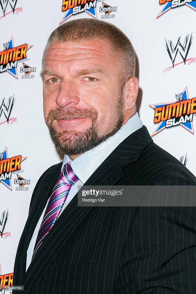 Professional wrestler Paul '<a gi-track='captionPersonalityLinkClicked' href=/galleries/search?phrase=Triple+H&family=editorial&specificpeople=239176 ng-click='$event.stopPropagation()'>Triple H</a>' Levesque attends the WWE SummerSlam Press Conference at Beverly Hills Hotel on August 13, 2013 in Beverly Hills, California.