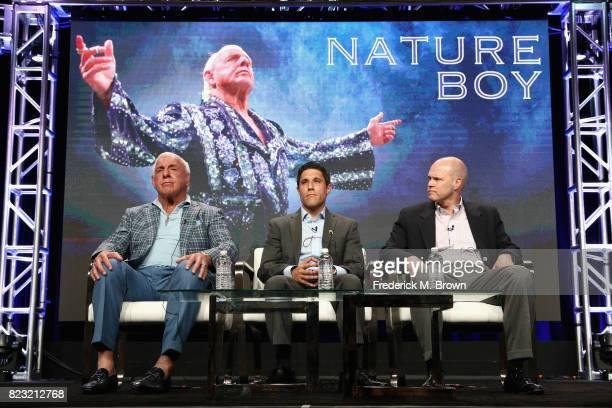 Professional wrestler Ric Flair director Rory Karpf and ESPN Films Original Content VP and Executive Producer John Dahl 'ESPN's 30 for 30 'Nature...