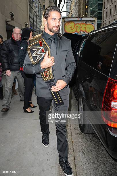 Professional wrestler Seth Rollins leaves the 'Today Show' taping at the NBC Rockefeller Center Studios on March 30 2015 in New York City