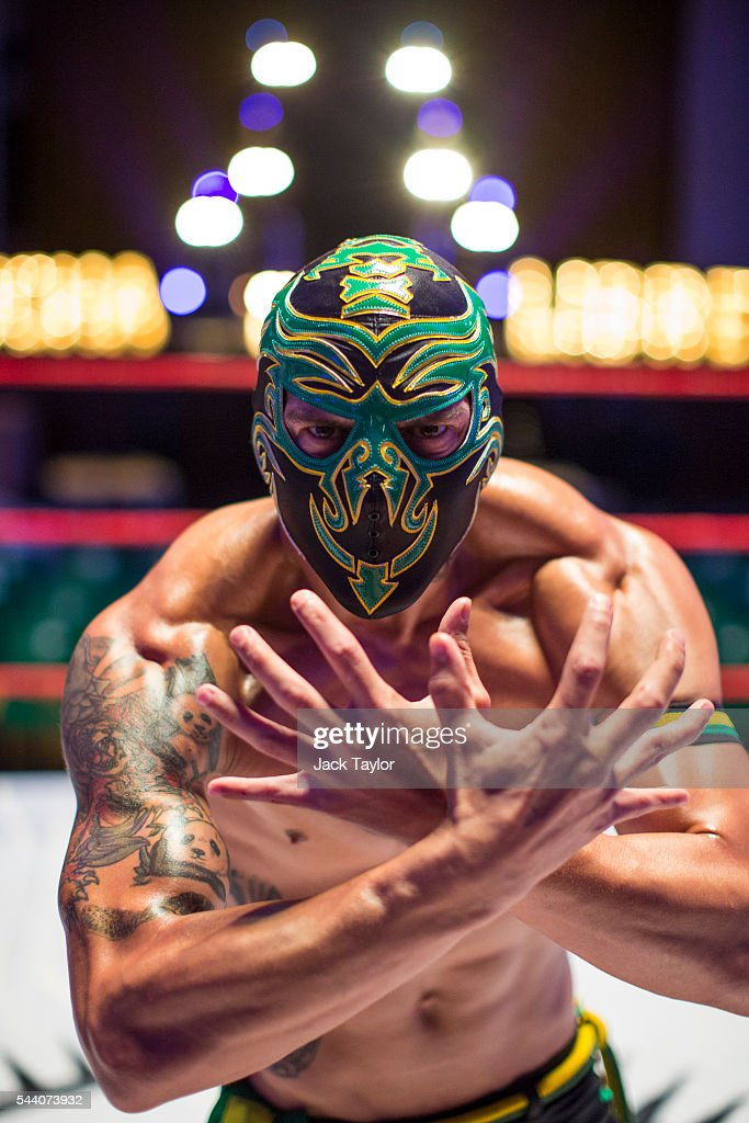Professional wrestler Zumbi poses during a photo call at York Hall in Bethnal Green on July 1, 2016 in London, England. A number of luchadores will perform in 'The Greatest Spectacle of Lucha Libre', which takes place over two days and features Mexican and British stars from the world of Mexican Wrestling.