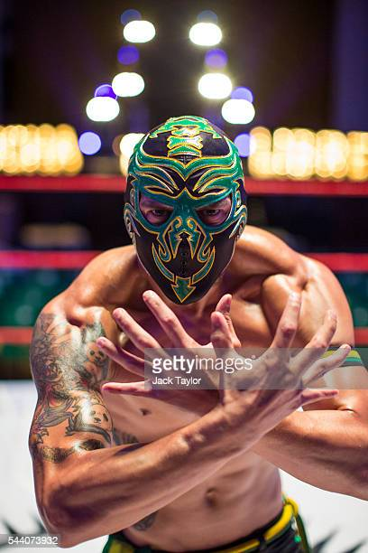Professional wrestler Zumbi poses during a photo call at York Hall in Bethnal Green on July 1 2016 in London England A number of luchadores will...