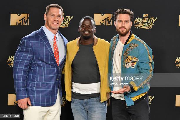 Professional wrestleractor John Cena actor Daniel Kaluuya winner of the Next Generation award for 'Get Out' and actor Aaron TaylorJohnson pose in the...