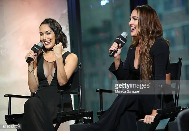 Professional wrestlers and TV personalities Brie Bella and Nikki Bella speak at BUILD Speaker Series Presents WWE superstars Nikki And Brie Bella...