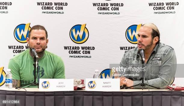 Professional wrestlers Jeff Hardy and Matt Hardy of WWE The Hardy Boyz attend Wizard World Comic Con Philadelphia 2017 Day 1 at Pennsylvania...