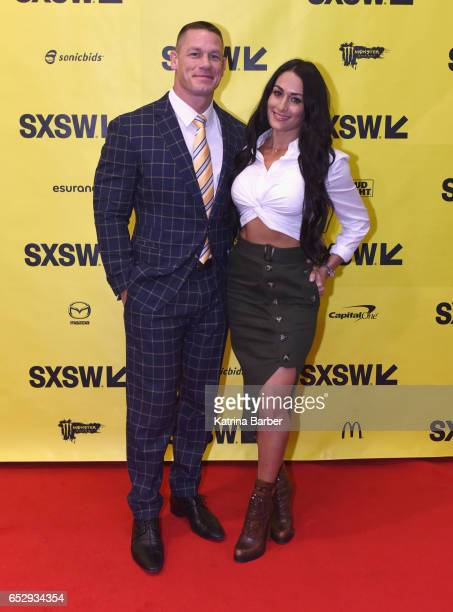 Professional wrestlers John Cena and Nikki Bella attend 'Featured Speaker John Cena' during 2017 SXSW Conference and Festivals at Austin Convention...