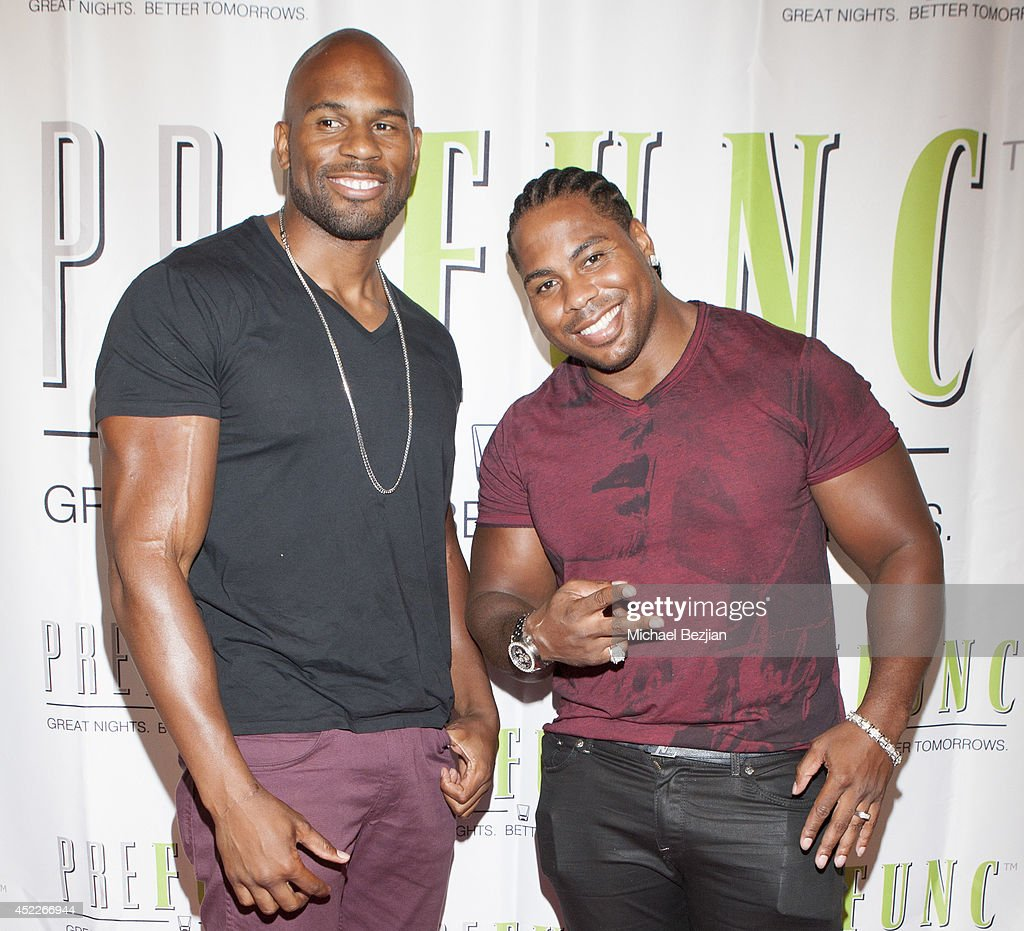 Professional wrestlers Shad Gaspard and JTG aka 'Cryme Tyme' attend PREFUNC At The Celebrity Sweat VIP Party at The Palm on July 16, 2014 in Los Angeles, California.