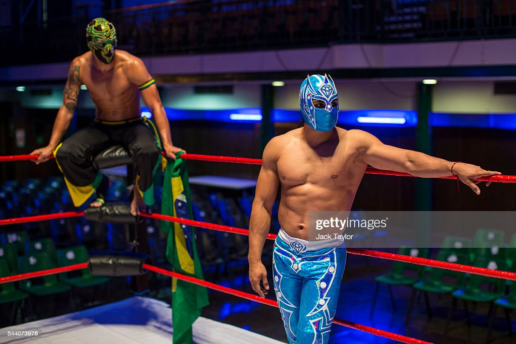 Professional wrestlers Zumbi (L) and Magnifico (R) pictured during a photo call at York Hall in Bethnal Green on July 1, 2016 in London, England. A number of luchadores will perform in 'The Greatest Spectacle of Lucha Libre', which takes place over two days and features Mexican and British stars from the world of Mexican Wrestling.
