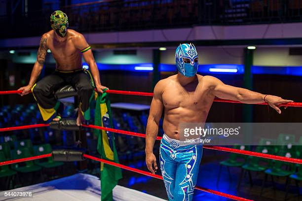 Professional wrestlers Zumbi and Magnifico pictured during a photo call at York Hall in Bethnal Green on July 1 2016 in London England A number of...