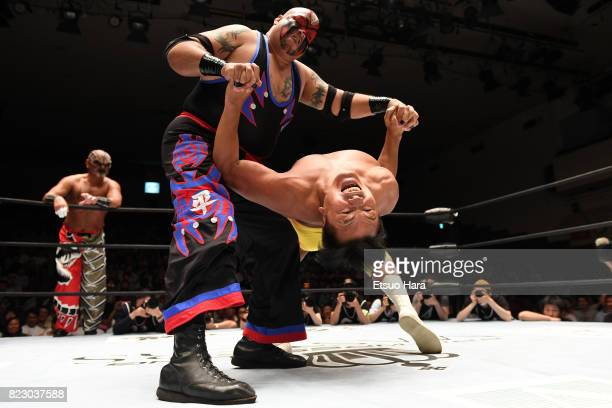 Professional wrestlerturnedlawmaker and former Education Minister Hiroshi Hase and TNT compete during the Prowrestling Masters at Korakuen Hall on...