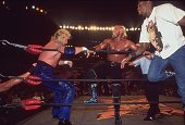 WCW Bash at the Beach Hulk Hogan in action vs Diamond Dallas Page at Cox Arena Chicago Bulls basketball player Dennis Rodman is alongside the ring...