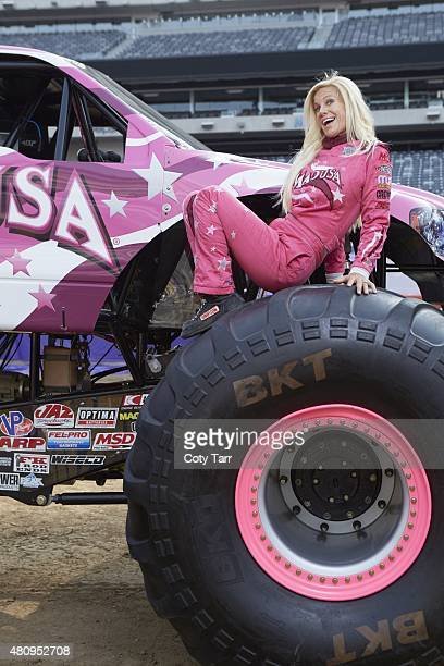 Where Are They Now Portrait of monster truck driver Debrah Miceli posing in front of her truck Madusa before Monster Jam event at MetLife Stadium...