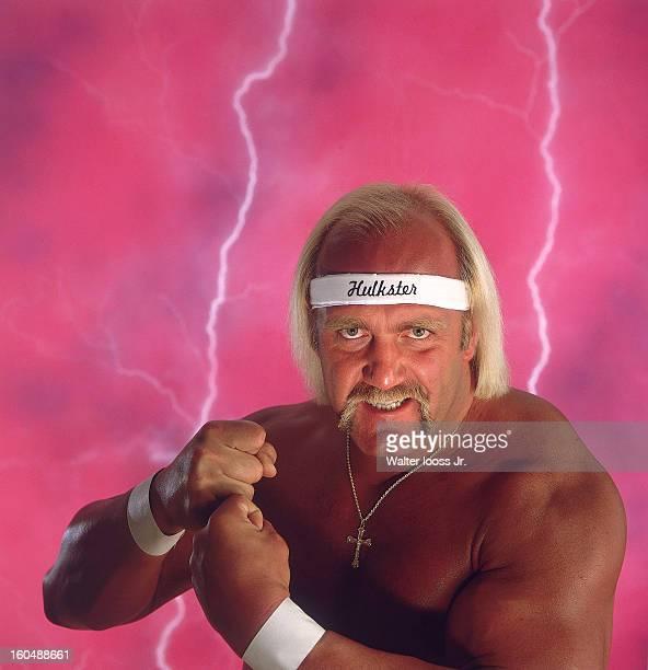 World Wrestling Federation Closeup portrait of Hulk Hogan posing during photo shoot in studio New York NY 3/24/1985 CREDIT Walter Iooss Jr