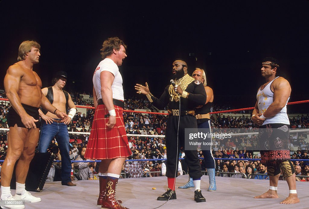 jimmy snuka photo gallery mr t and rowdy roddy piper argue as l r paul orndorff
