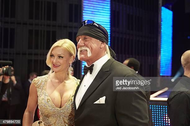 WWE Hall of Fame Induction Hulk Hogan with wife Jennifer McDaniel during ceremony at SAP Center San Jose CA CREDIT Jed Jacobsohn