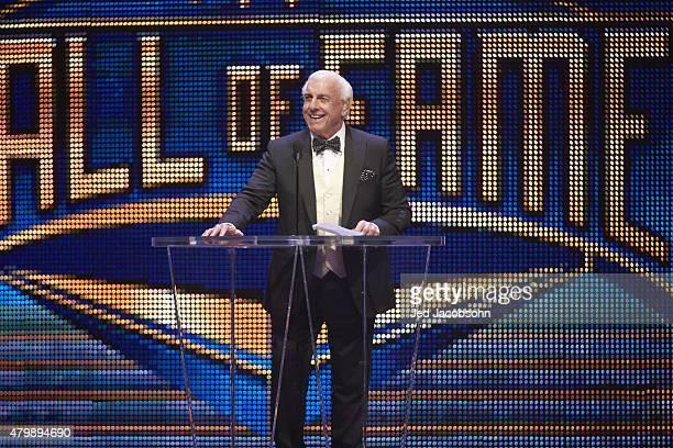 WWE Hall of Fame Induction Ric Flair at podium during ceremony at SAP Center San Jose CA 3/28/2015 CREDIT Jed Jacobsohn