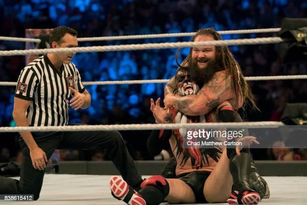 WWE SummerSlam Bray Wyatt in action vs Finn Balor during match at Barclays Center Brooklyn NY CREDIT Chad Matthew Carlson