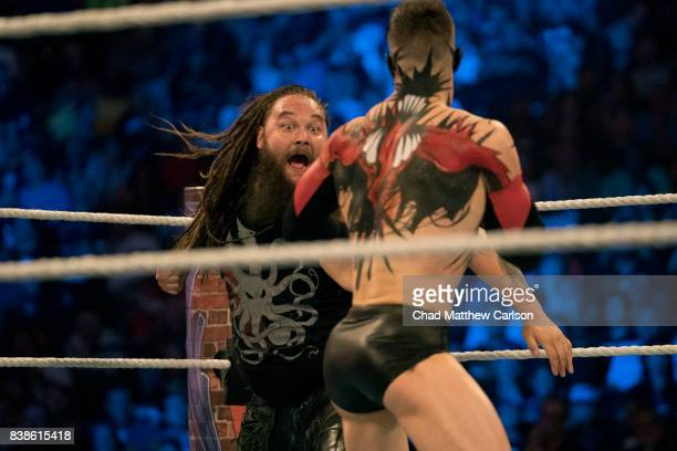 WWE SummerSlam Bray Wyatt in action vs Finn Balor during match at Barclays Center Brooklyn NY CREDIT Chad Matthew Carlson