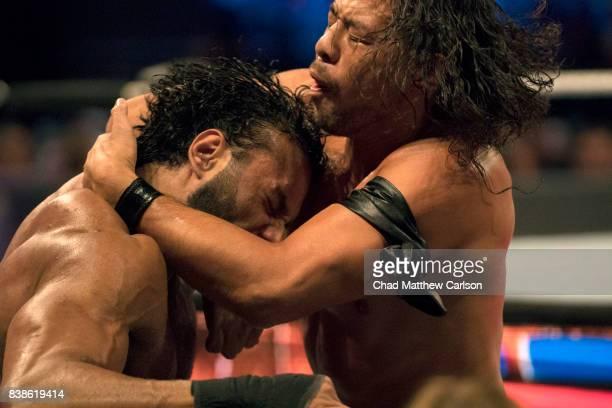 WWE SummerSlam Closeup of Shinsuke Nakamura in action vs Jinder Mahal during match at Barclays Center Brooklyn NY CREDIT Chad Matthew Carlson