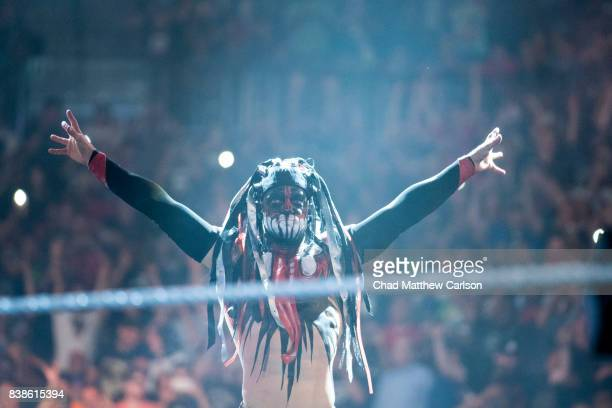 WWE SummerSlam Finn Balor making entrance before match vs Bray Wyatt at Barclays Center Brooklyn NY CREDIT Chad Matthew Carlson