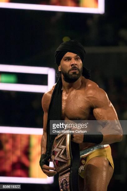 WWE SummerSlam Jinder Mahal holding belt after match at Barclays Center Brooklyn NY CREDIT Chad Matthew Carlson
