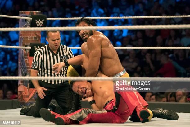 WWE SummerSlam Jinder Mahal in action vs Shinsuke Nakamura during match at Barclays Center Brooklyn NY CREDIT Chad Matthew Carlson