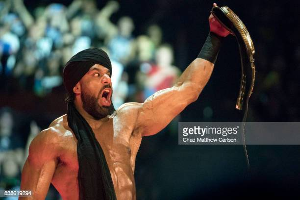 WWE SummerSlam Jinder Mahal victorious holding up belt after match at Barclays Center Brooklyn NY CREDIT Chad Matthew Carlson