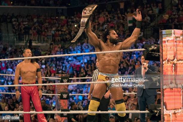 WWE SummerSlam Jinder Mahal victorious holding belt after match at Barclays Center Brooklyn NY CREDIT Chad Matthew Carlson