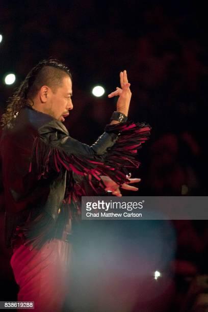 WWE SummerSlam Shinsuke Nakamura during his entrance before match vs Jinder Mahal at Barclays Center Brooklyn NY CREDIT Chad Matthew Carlson