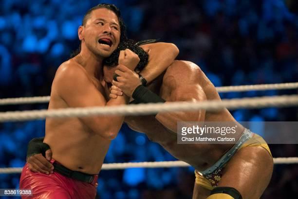 WWE SummerSlam Shinsuke Nakamura in action vs Jinder Mahal during match at Barclays Center Brooklyn NY CREDIT Chad Matthew Carlson
