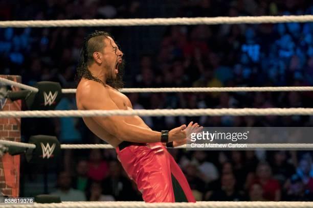 WWE SummerSlam Shinsuke Nakamura victorious during match vs Jinder Mahal at Barclays Center Brooklyn NY CREDIT Chad Matthew Carlson