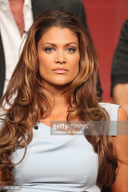 Professional WWE Wrestler Eve Torres speaks onstage at the 'Stars Earn Stripes' panel during day 4 of the NBCUniversal portion of the 2012 Summer TCA...