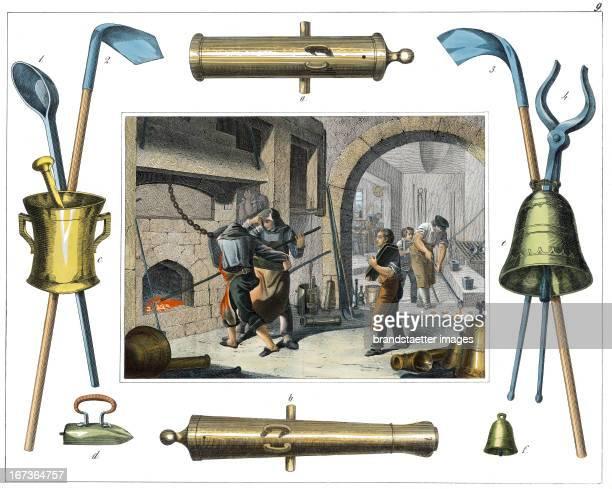 Bell foundry From 30 Werkstaetten von Handwerkern Schreiber Eßlingen Colored Lithograph About 1860 Berufe Glockengießer Aus 30 Werkstätten von...